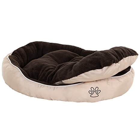 Songmics Cama para perros gatos mascotas ovalada Cojín reversible M: 75 x 58 x 15