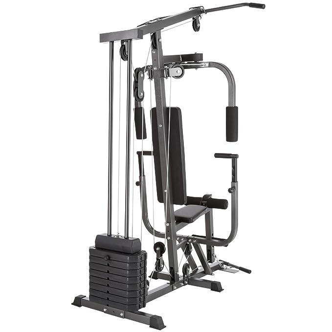 TecTake Multiestación maquina de musculación | Módulo de mariposa | Estribo para piernas | 8x4,5 kg | Barra - varios modelos (Typ 2 | No.