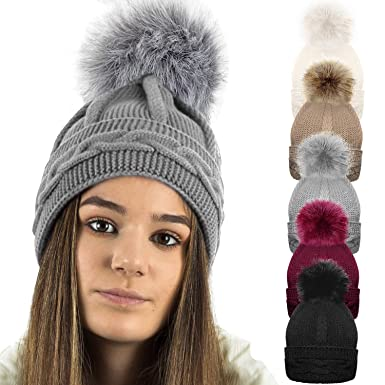 1c1bf833bb5 TOSKATOK® Ladies Womens Girls Chunky Cable Purl Knit Hat with Detatchable Faux  Fur Pom Pom  Amazon.co.uk  Clothing