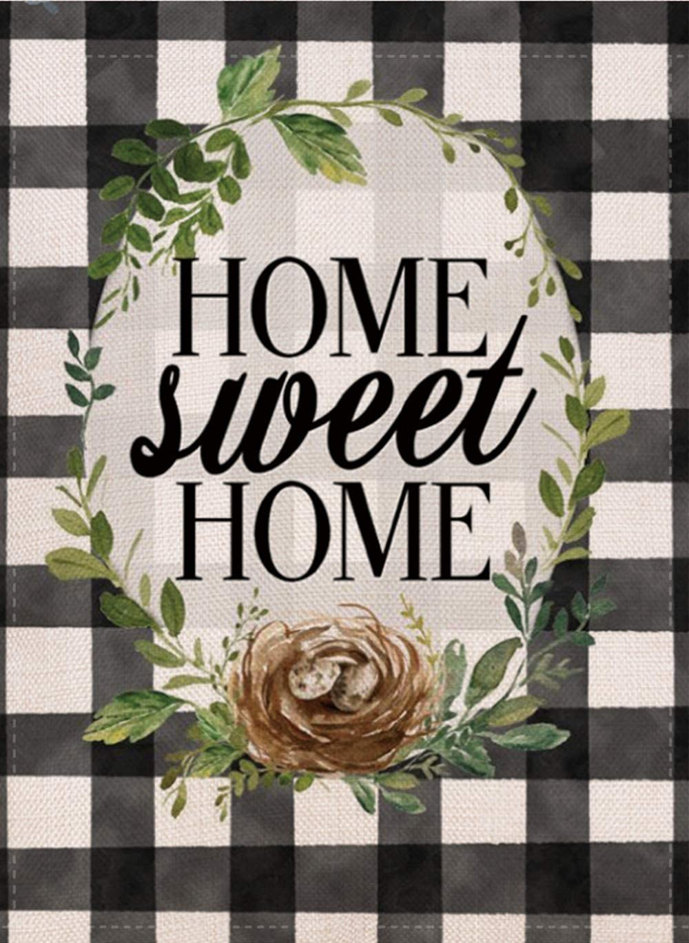 Furiaz Home Sweet Home Farmhouse Decorative Garden Flag, Fall Winter Buffalo Plaid Check Sign Outdoor Small Flag Black White Decor, Spring Summer Rustic House Yard Seasonal Outside Decoration 12 x 18