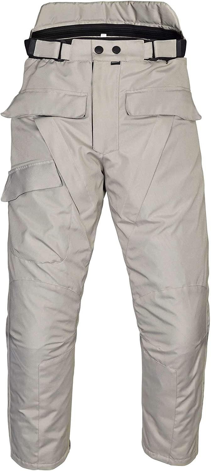 Mens Motorcycle Waterproof Over-Pants Full Side Zip with Removable CE Armor Black