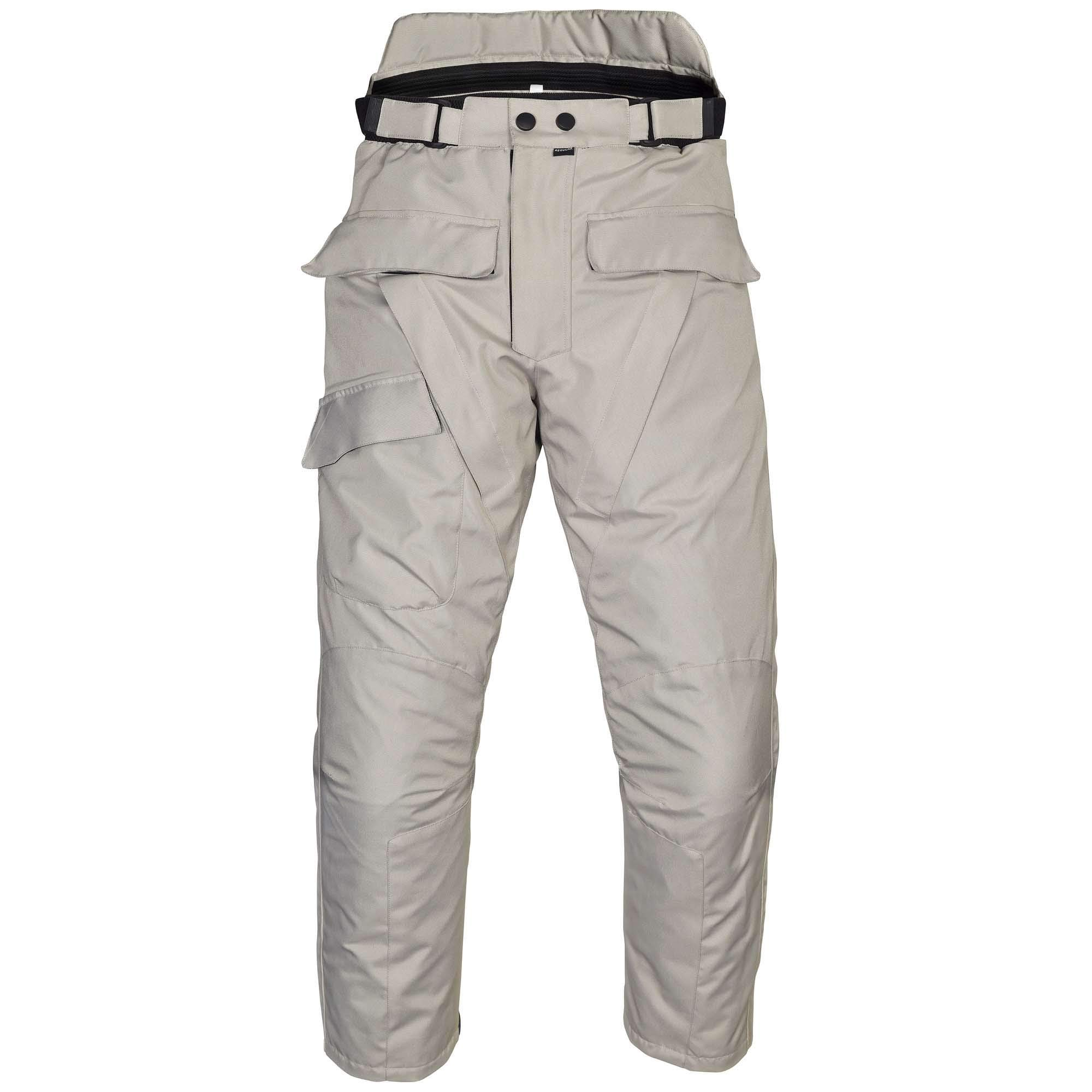 Men's Motorcycle Waterproof Over-Pants Full Side Zip with Removable CE Armor Gray by WICKED STOCK
