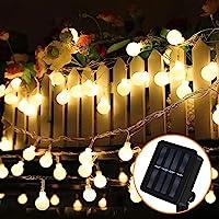 Guirnalda Luces Exterior Solar, Nasharia 60 LED 8M Cadena Solar de Luces, IP65 Impermeable 8 Modos, Guirnaldas Luces…