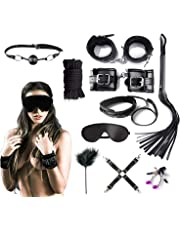 10pcs Handcuffs in Bed and Eye Shield Accessories for couple,R-ES-tra-ints K-its - and Touch Me with Your Smile, and What Can I Say to Make You Mine,Black