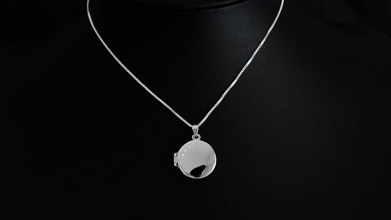Massiver runder 925 Silber Fotomedaillon zum /öffnen Optional mit Gravur #1724 aufklappbare Anh/änger f/ür Foto Bilder,Amulett Talisman aus 925 Sterlingsilber