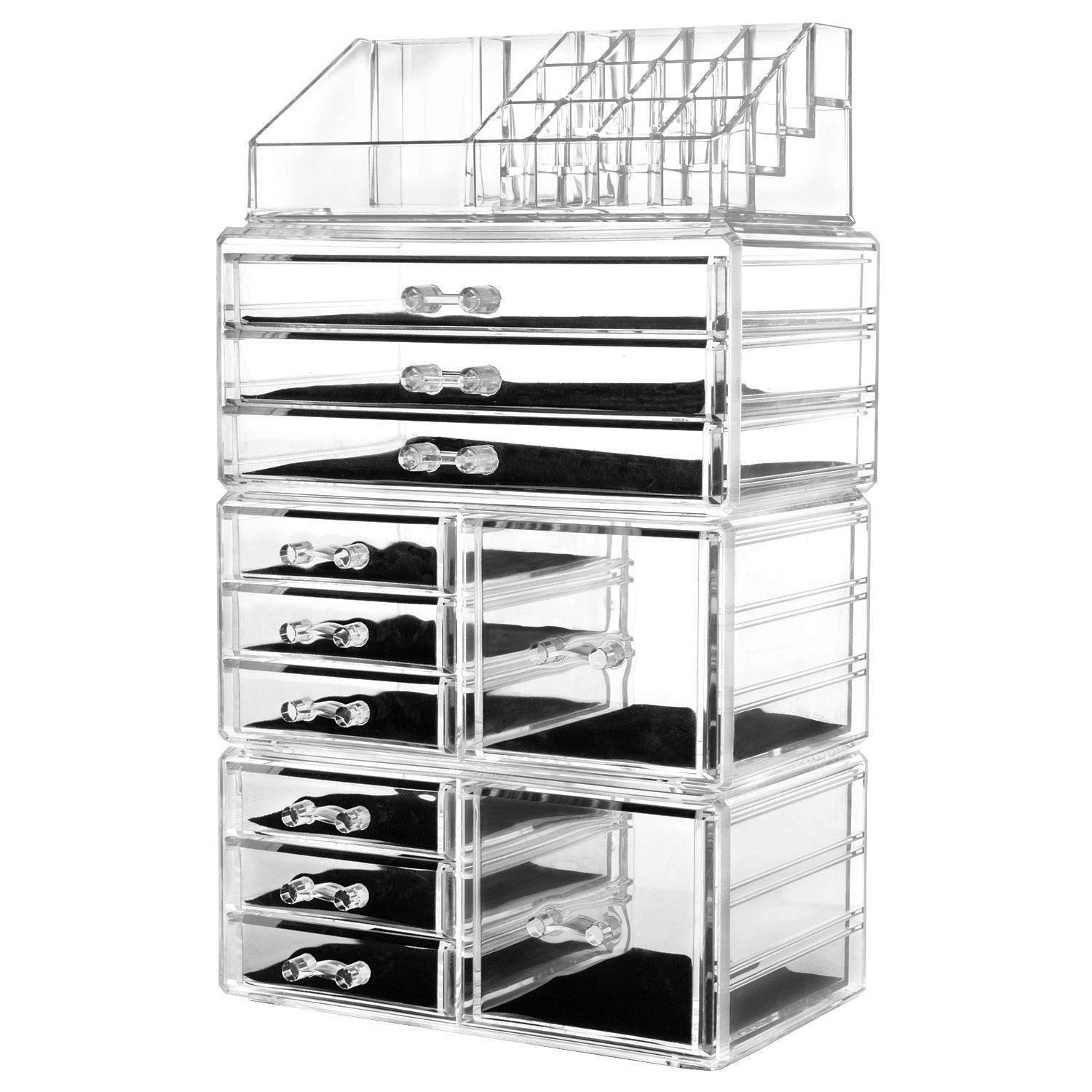 US Stock PEATAO 4Pcs/Set Acrylic Jewelry Cosmetic Storage Display Boxes Makeup Case - (6 Small, 2 Square, and 3 Large Drawers) for Bathroom, Dresser, Vanity, Countertop