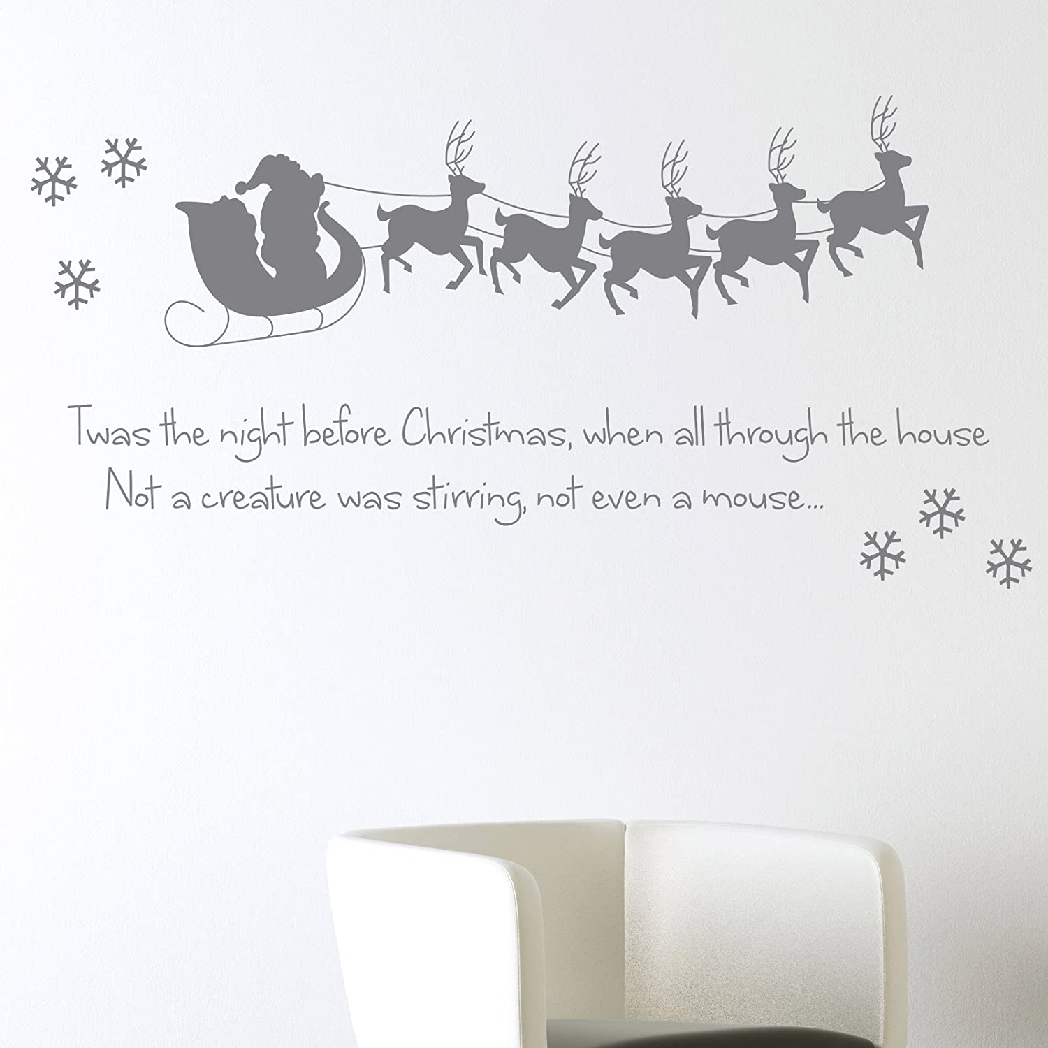 twas the night before christmas wall sticker xmas art decal decoration santa reindeer snowflake amazoncouk kitchen home