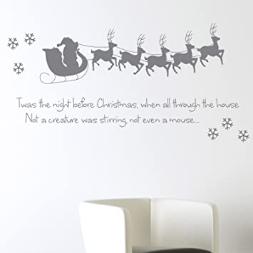 Twas The Night Before Christmas Wall Sticker Xmas Art Decal Decoration  Santa Reindeer Snowflake