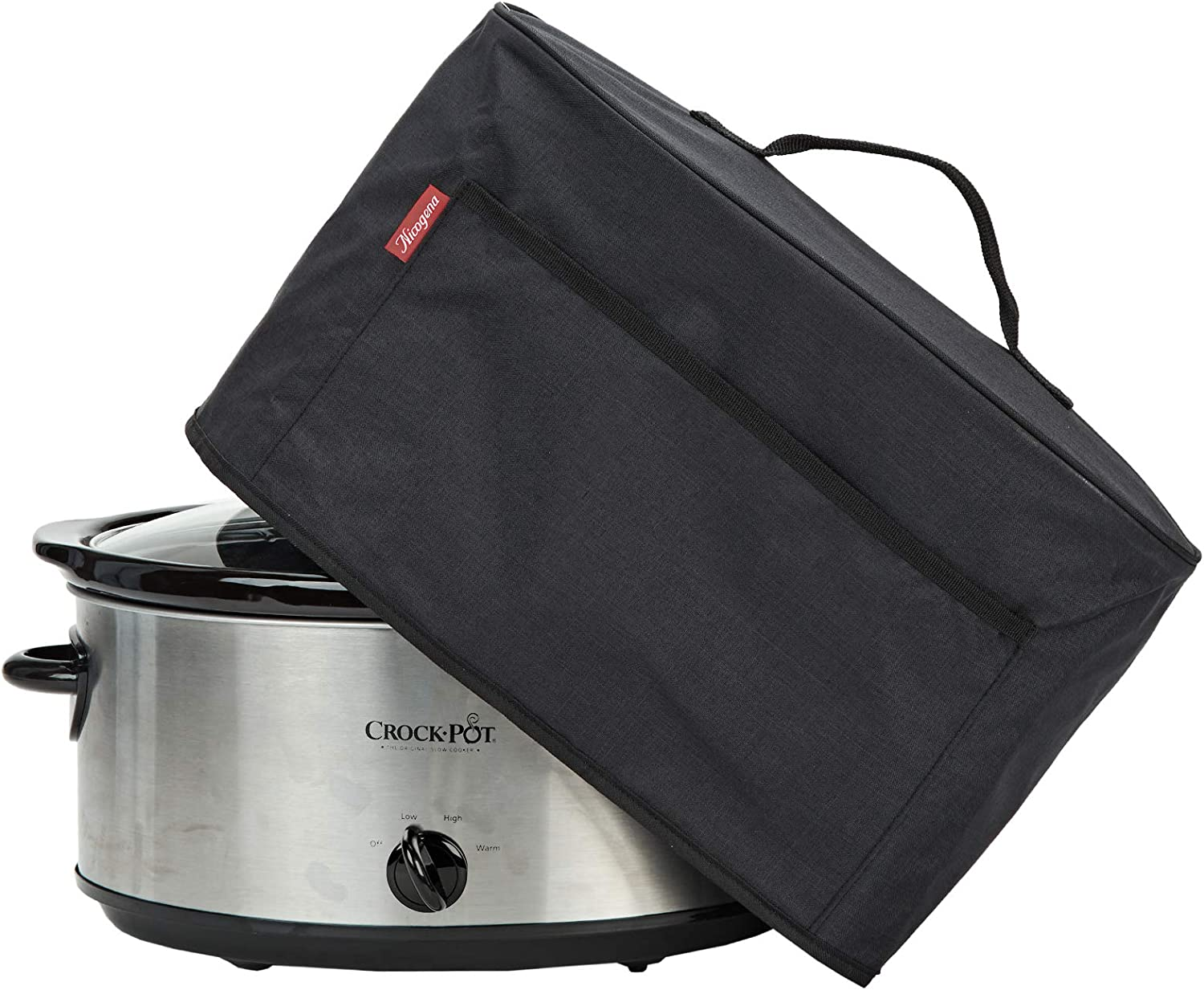 NICOGENA Slow Cooker Dust Cover with Handle and Front Pocket for Crock Pot 6-8 Quart, Waterproof fabric with Easy to Wipe Lining, Black