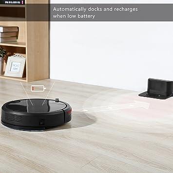 DEIK Robot aspirador, Robot aspirador con self-charging & drop-sensing, alta y Smart mopa con depósito de agua de succión para suelo de múltiples ...
