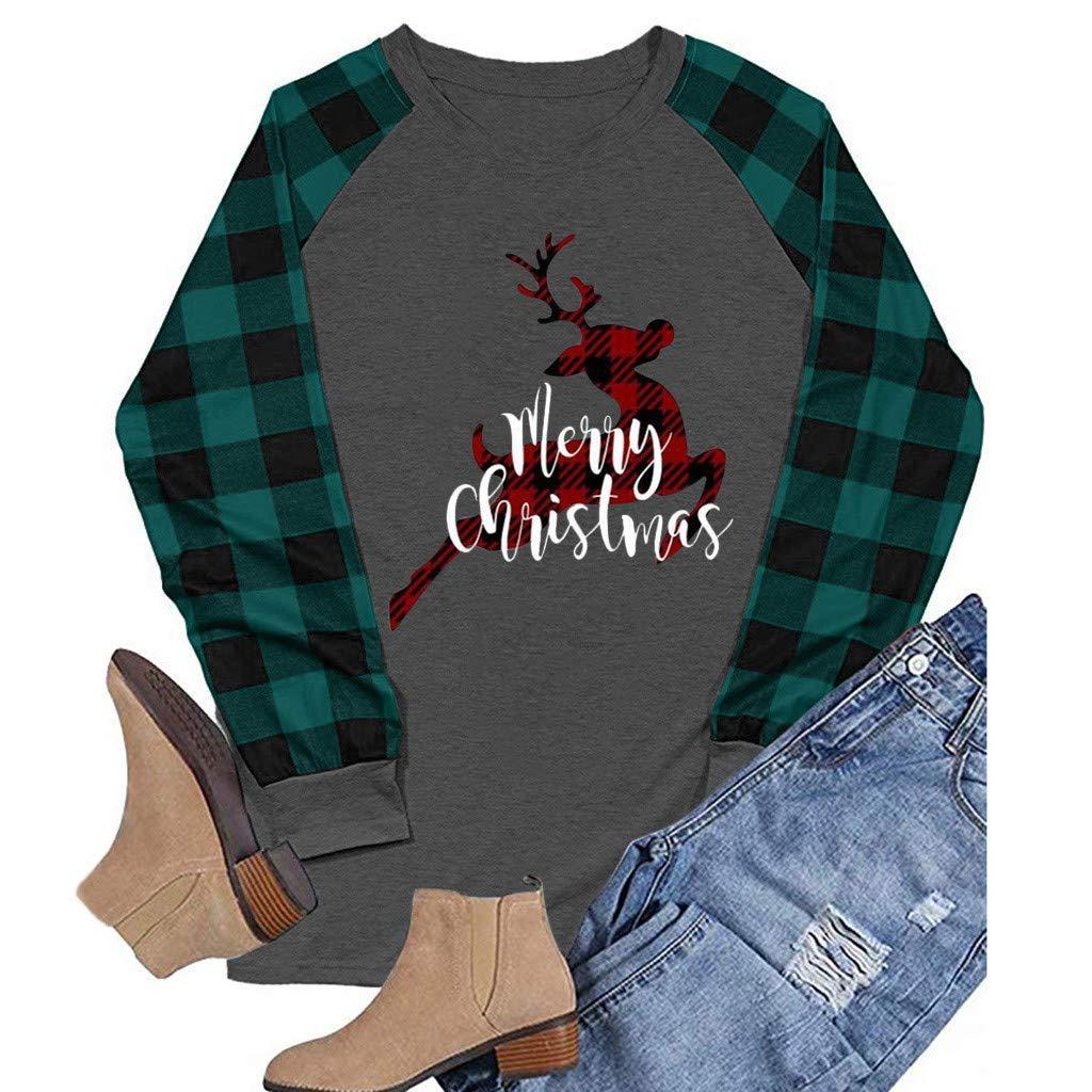 Christmas T-Shirt for Women Upgrade Elk//Tree//Car//Letter//Hat Print Plaid Tee Raglan Tops Ladies Casual Long Sleeve T-Shirt