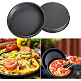 IGEMY 8 inch Round Pizza Pan Tray carbon steel non-stick oven pizza plate pan (Black)