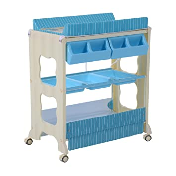 HOMCOM Baby Changing Table Station Portable Changer Baby Storage Bath Tub  Unit Dresser W/ Wheels