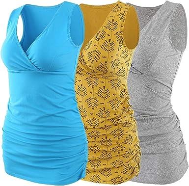 ZUMIY Camiseta de maternidad de lactancia, camiseta de lactancia embarazada, cuello en V, cintura fruncida de doble capa, para mujer