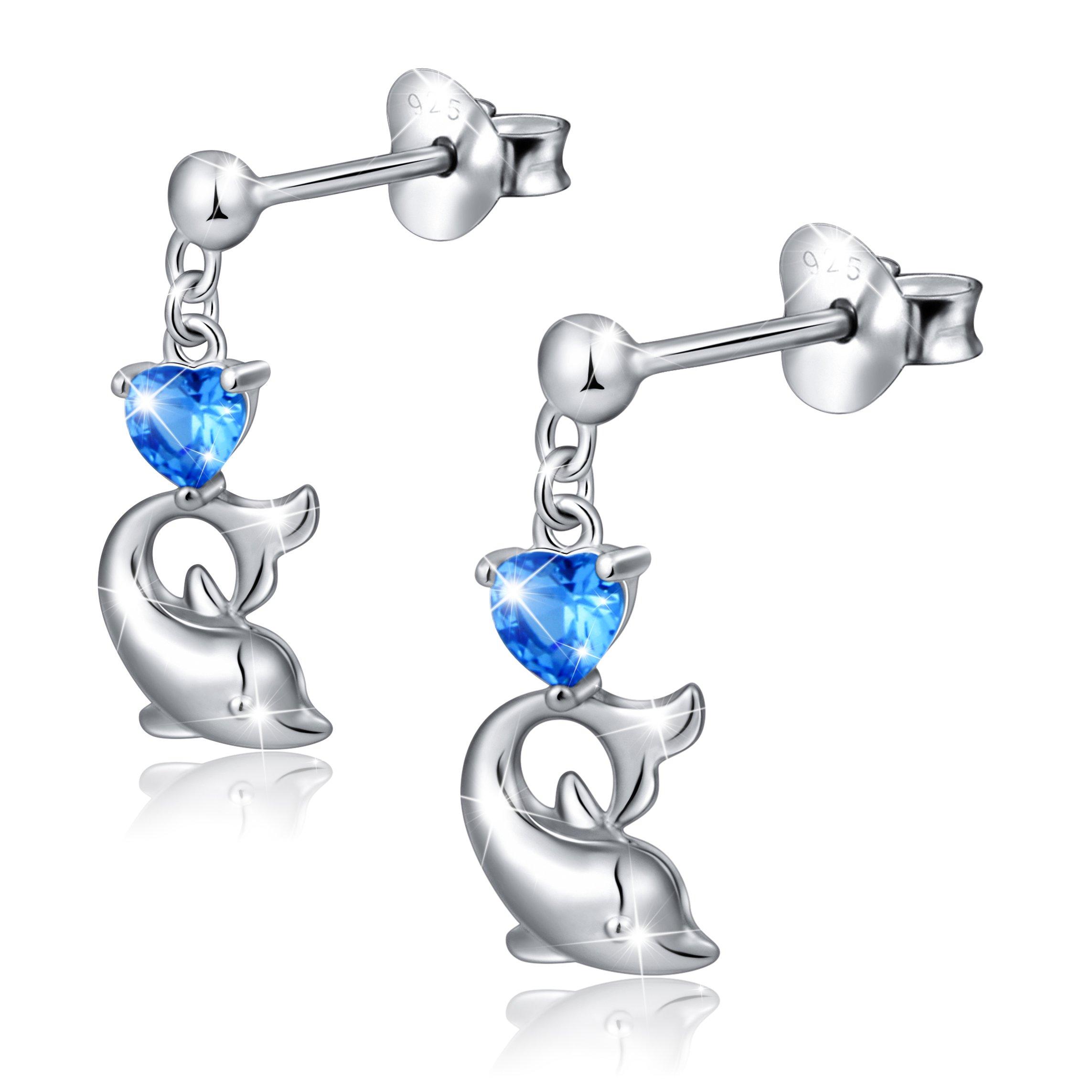 LINLIN FINE JEWELRY 925 Sterling Silver Cubic Zirconia Blue Cz Heart Dolphin Stud Earrings for Women