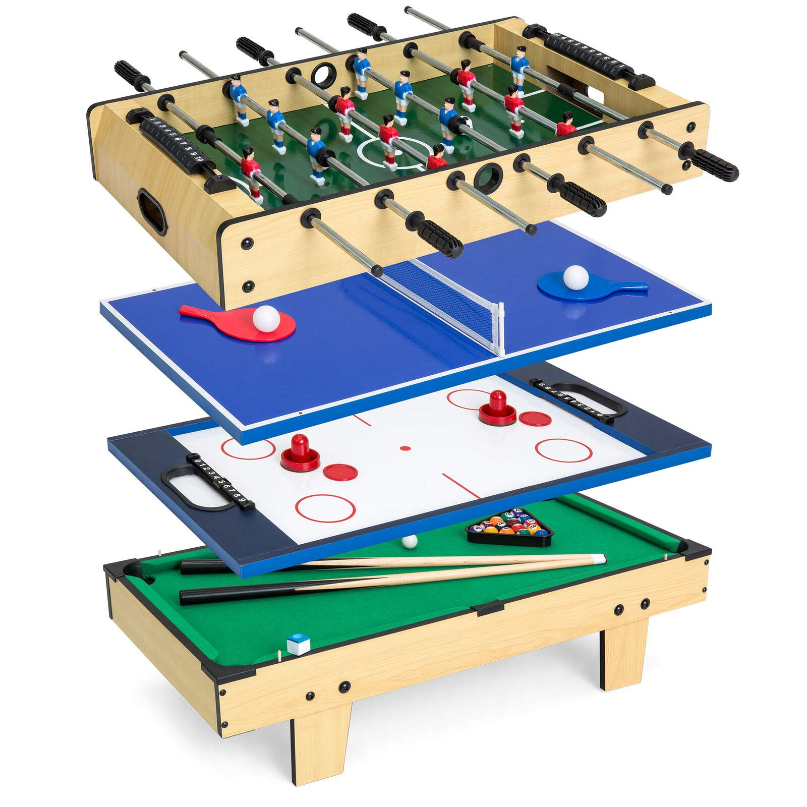 4-in-1 Multi Arcade Game Combination Table Set Surface for Air Hockey Table Tennis Billiards Foosball Perfect for Party and Family Gatherings Ideal for Kids Children and Adults Great Birthday Gift