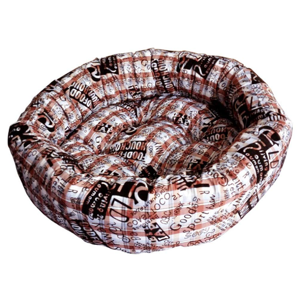 Brown L Brown L Cvthfyky Cotton warm kennel round pet nest super warm super soft dog cat litter (color   Brown, Size   L)