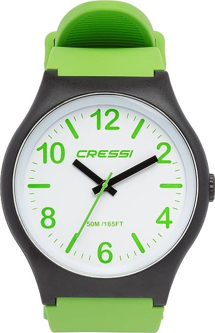 Cressi Watch Echo Reloj Analógico de Cuarzo, Unisex Adulto, Negro/Blanco/Verde