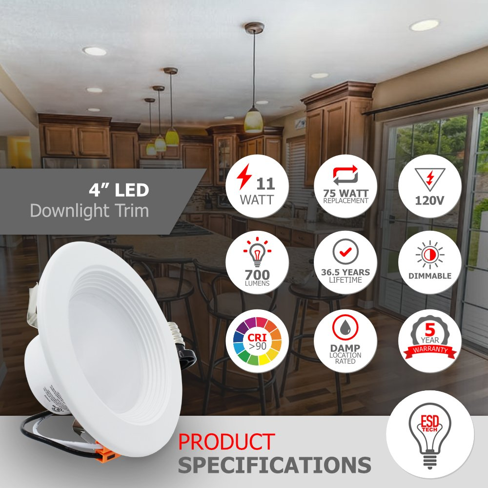 ESD Tech 4 pulgadas LED de intensidad regulable retrofit empotrado Downlight Trim, 11 W (75 W de repuesto), diseño de cuadrícula, Energy Star, UL Listed, ...
