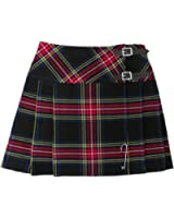 "Scottish Black Stewart 16.5"" Red Tartan/Plaid Pleated Mini Kilt Skirt Sizes 4-26"