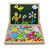 Fajiabao Wooden Double Side Magnetic Drawing Writing Board Jigsaw Puzzle Game Toy Set for Boys Girls