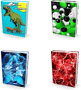 Best Jumbo 9x11 Textbook Jackets for Back to School Easy Apply Reusable Book Covers 4 Pk Stretchable to Fit Most Large Hardcover Books Perfect Fun Boys Kids and Teens Washable Designs for Girls