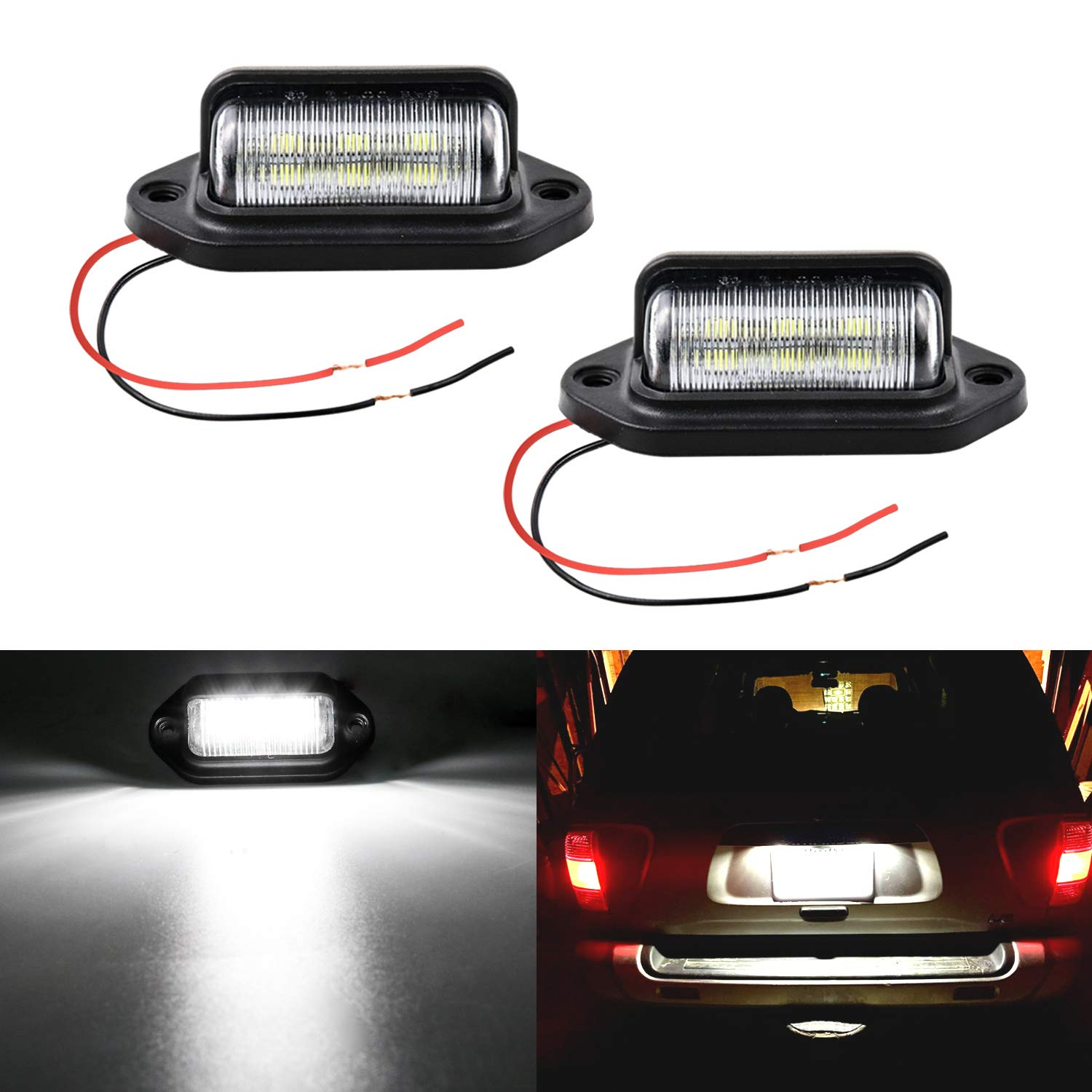 LivTee Waterproof 12V LED License Plate Lamp Light for Truck SUV Trailer Van, Step Courtesy Lights, Dome/Cargo Lights or Under Hood Light, Xenon White(2-Pieces)