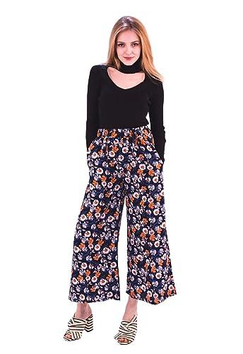 Pantalones de mujer de pata ancha, de verano, estampado floral