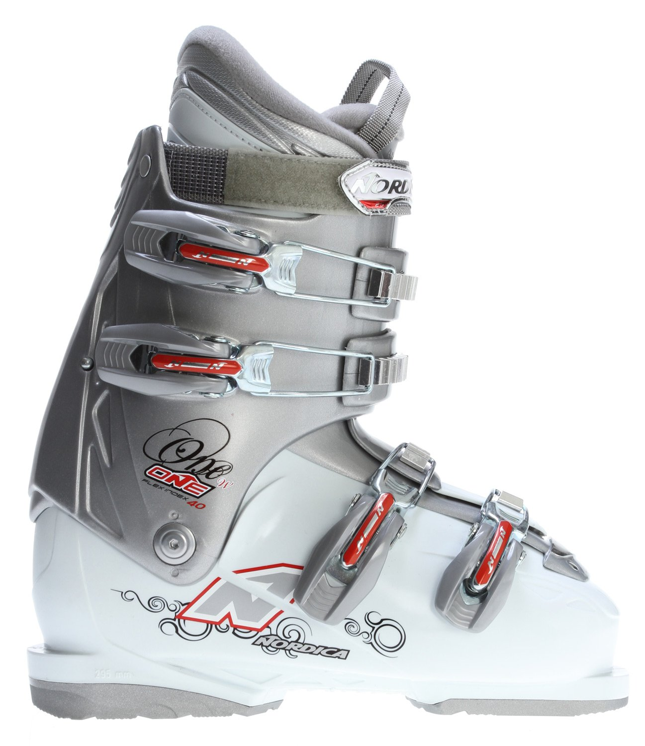 Nordica One 40 Ski Boots Silver/White Women's Sz 6.5 (23.5) by NORDICA One Womens Ski Boot