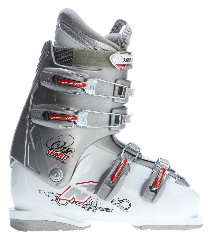 Nordica One 40 Ski Boots Silver/White Women's Sz 6.5 (23.5)