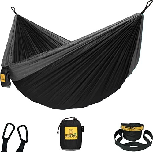 Wise Owl Outfitters Hammock Camping Double Single with Tree Straps – USA Based Hammocks Brand Gear, Indoor Outdoor Backpacking Survival Travel, Portable