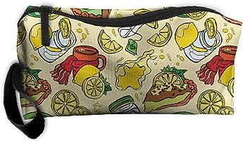Bxsnd Pie Lemon Food Unisex Oxford Cosmetic Bag Cartoon Teens Pencil Case Travel Cosmetic Pouch