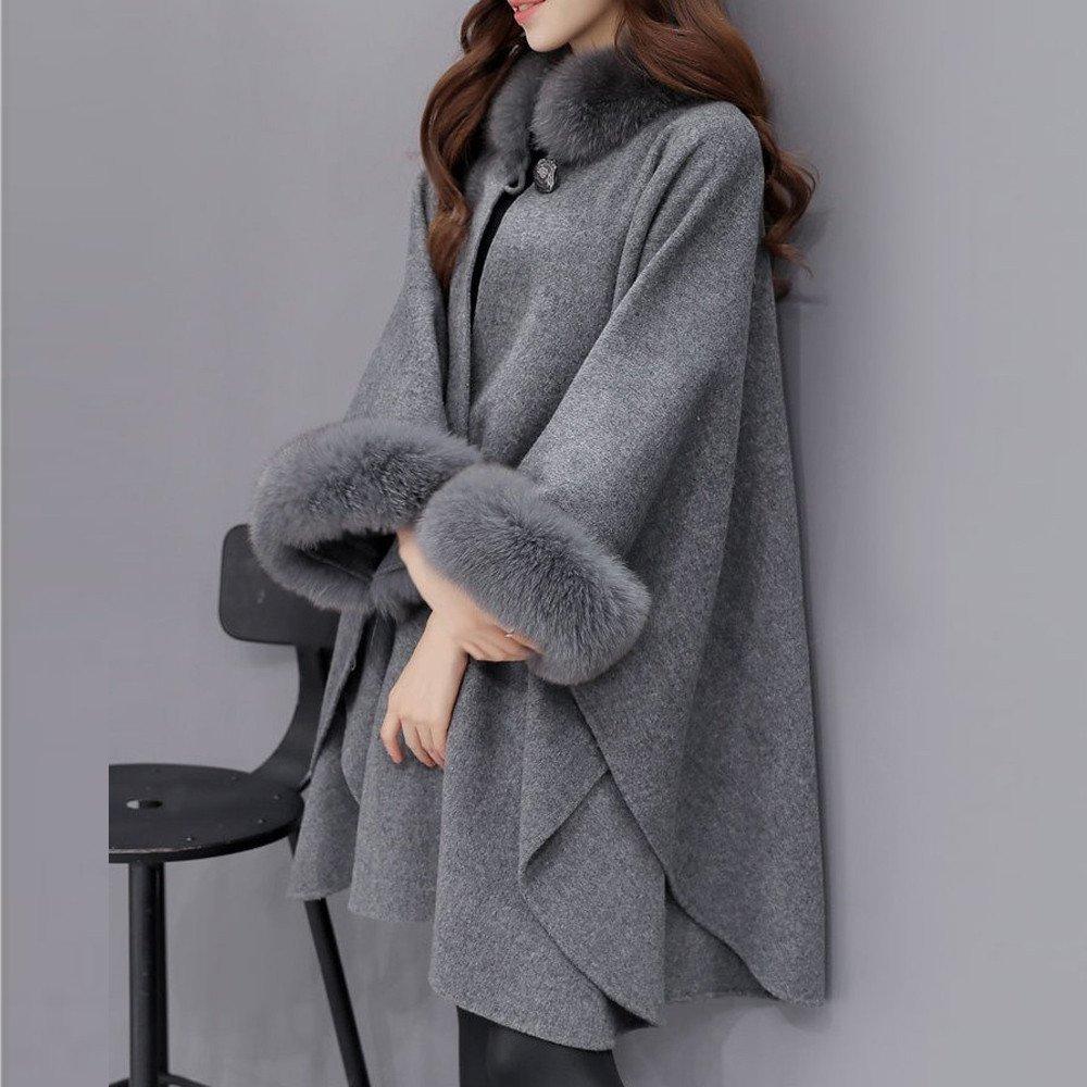 LQQSTORE Cappotto da Donna Donna Autunno Inverno Elegante Puro Colore Manica Lunga Collo di Pelliccia Caldo Mid Long Cappotto di Lana Giacca Outwear