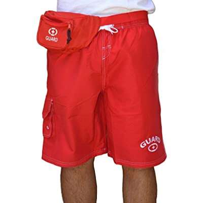 Adoretex Men's Guard Swimwear Board Short Set with Hip Bag, Whistle with Lanyard