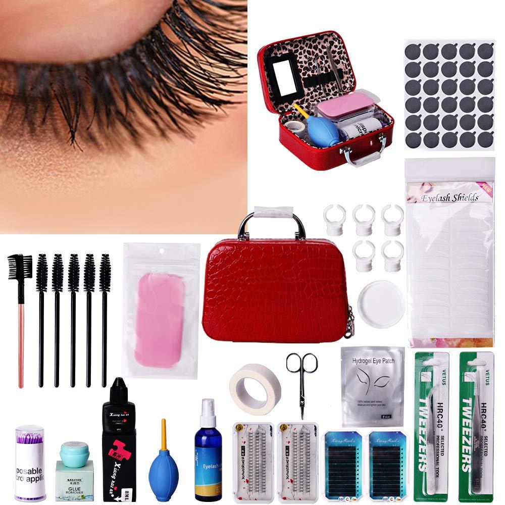 7b0ca7996f9 Amazon.com : MYSWEETY Eyelash Extension Kits, 22pcs False Lashes Tool Curl  Glue With Cosmetic Case For Makeup Practice Eye Lashes Graft, Lash Starter  Kit, ...