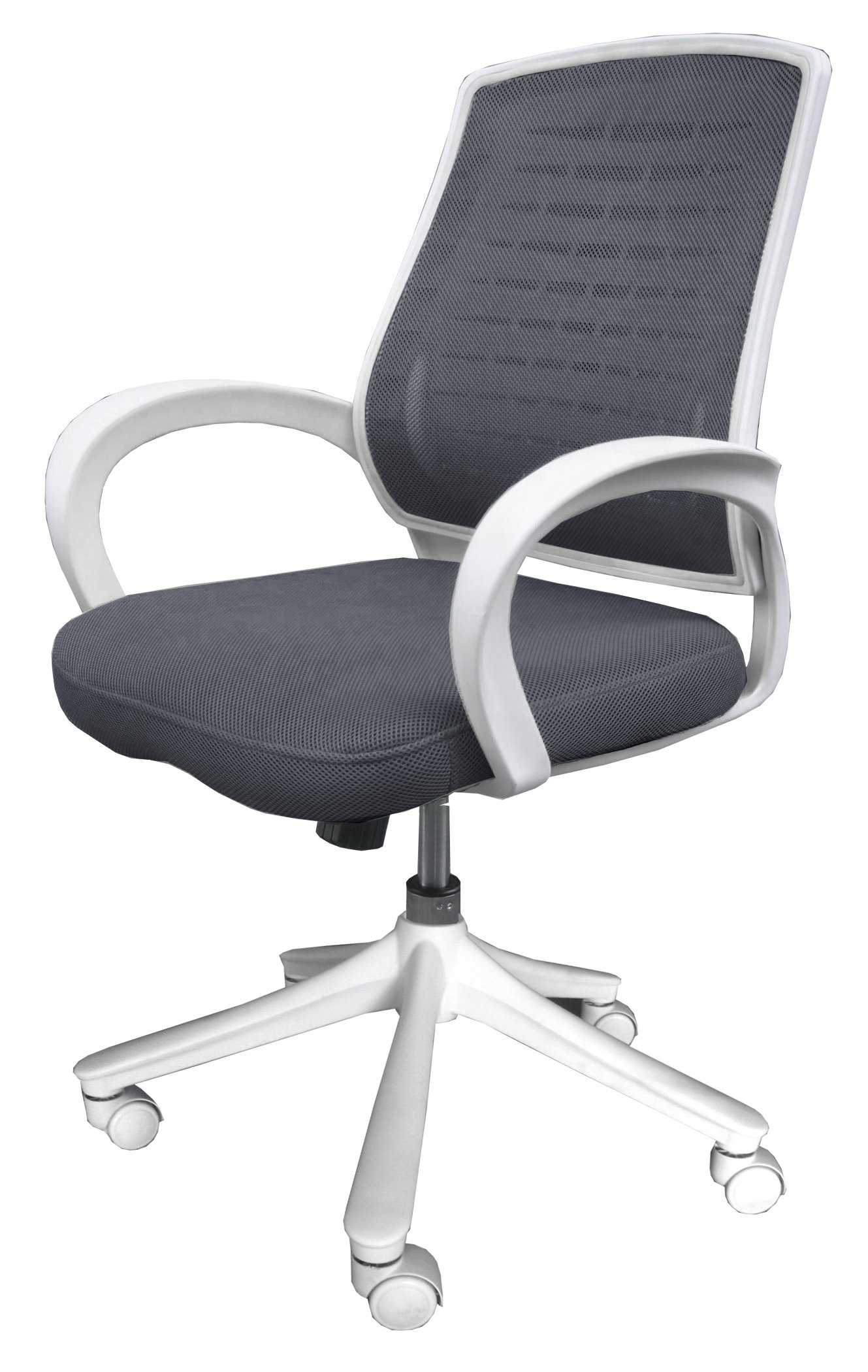Comfort Products 60-51840004 Iona Mesh Chair, Gray with White Frame, Attractive white molded frame and casters adds distinction to work area, Gray mesh upholstery provides breathable comfort