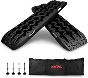 X-BULL New Recovery Traction Tracks Sand Mud Snow Track Tire Ladder 4WD (Black,3gen)