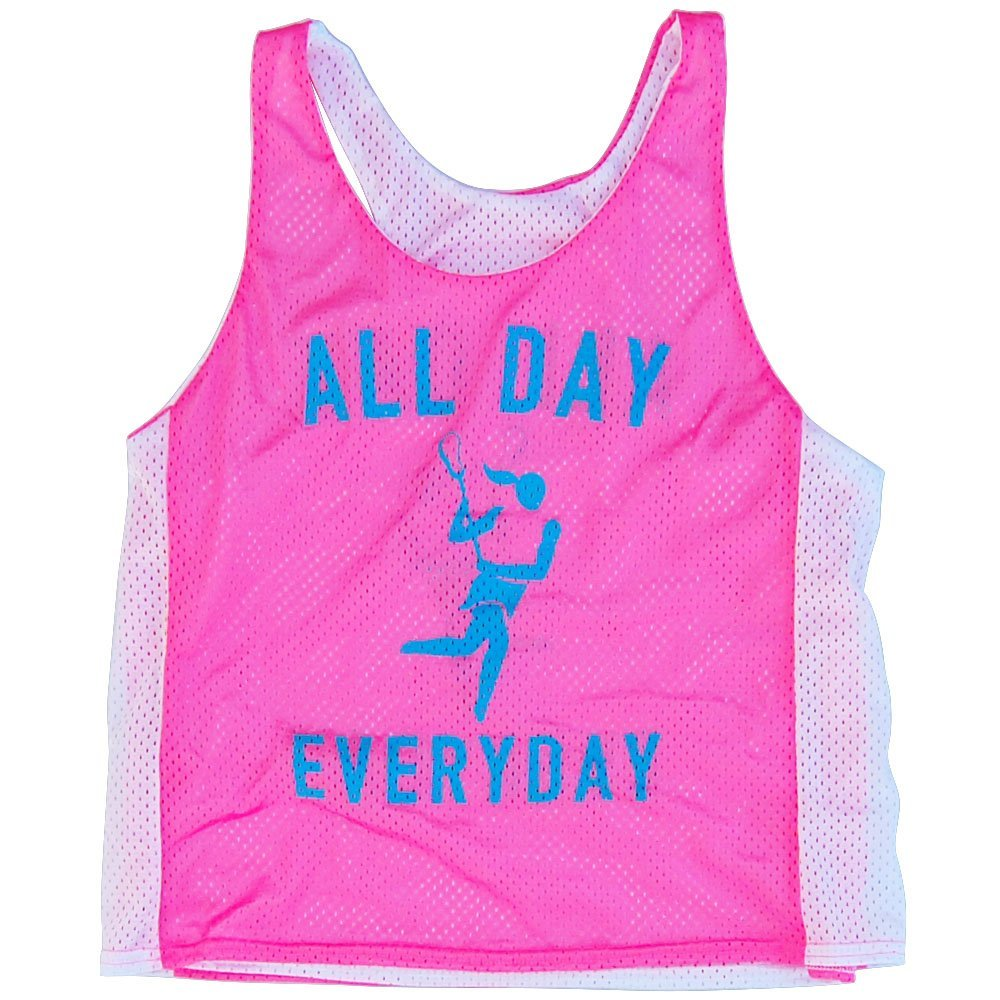Lacrosse All Day Everyday Racerback Pinnie, Neon Pink-White, Small-Medium