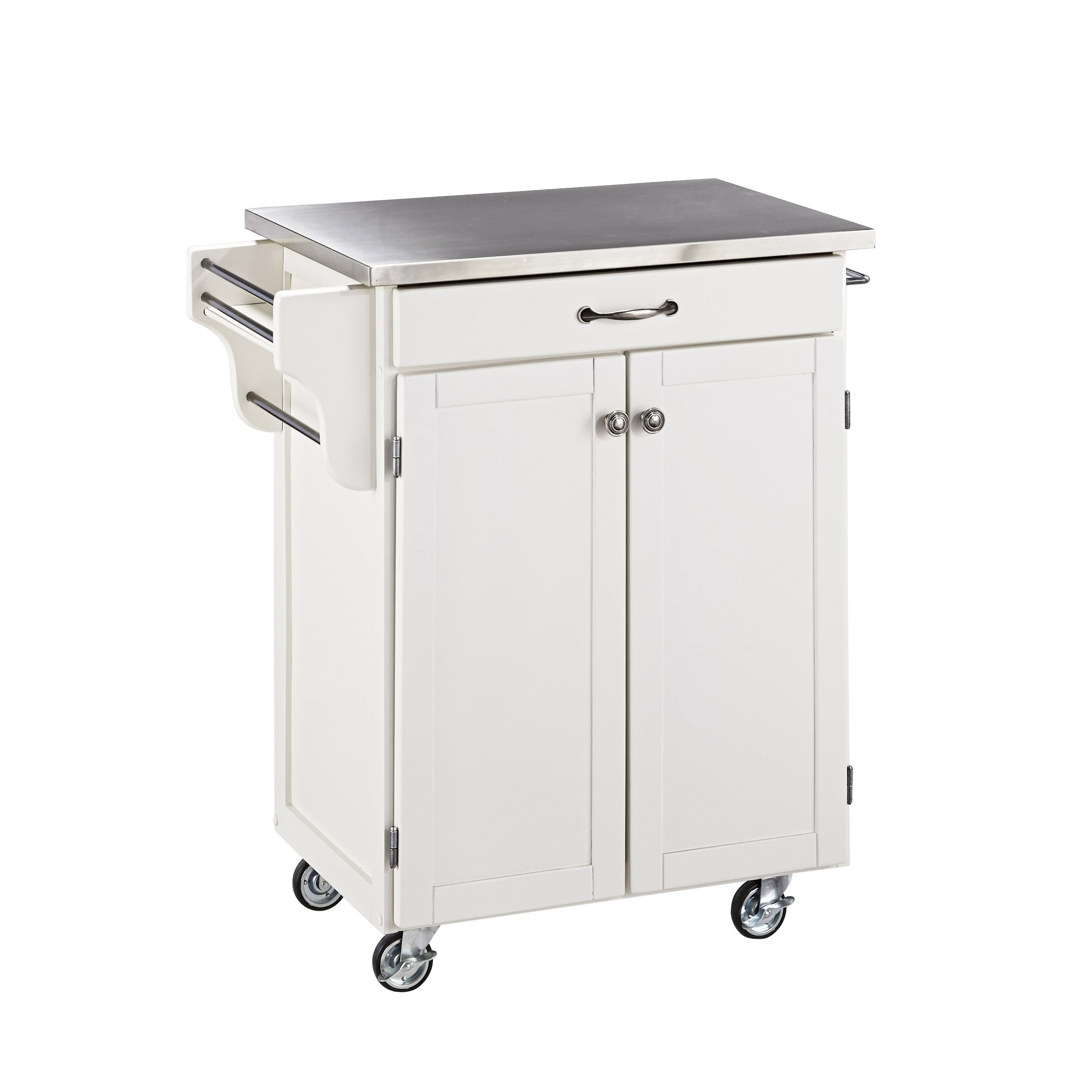 Create-a-cart White with Stainless Steel Top by