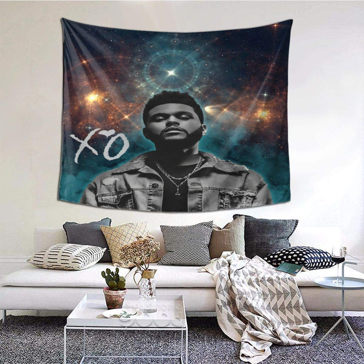 NOT BRAND 60×51 Inches XO The Weeknd Wall Tapestry with Art Nature Home Decorations for Living Room Bedroom Dorm Decor