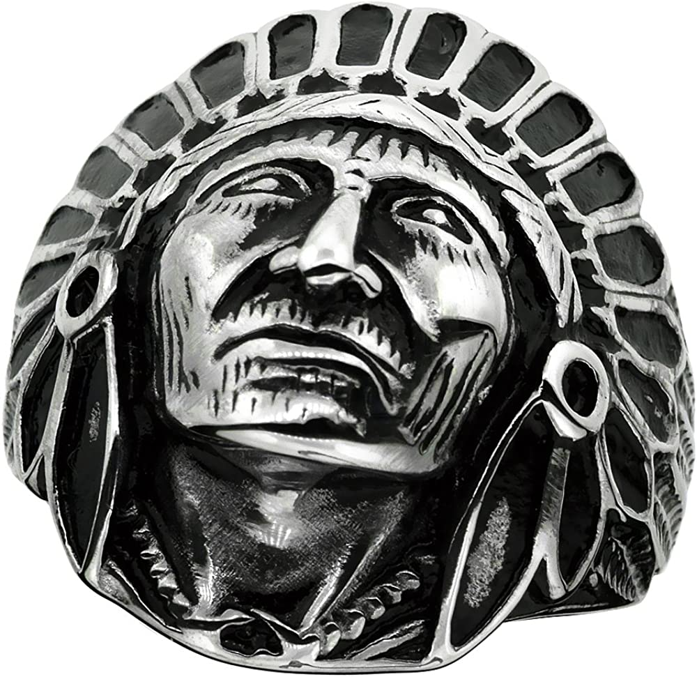 Surgical Stainless Steel Biker Ring Indian Chief Head 1 3/16 inch Wide, Sizes 9-15