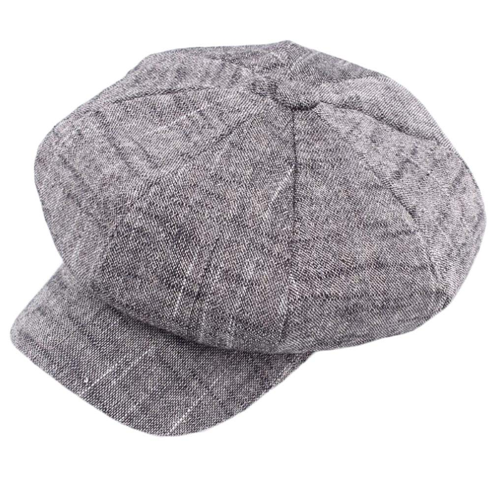 4URNEED Cotton Linen Classic Unisex Newsboy Hat Flat Cap Beret Baker Boy Hat,58CM