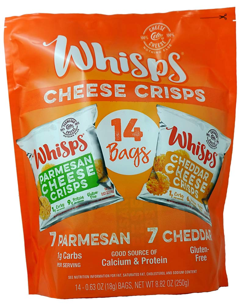 Cello Whisps Cheese Crisps - Parmesan & Cheddar Variety 14 pack, 0.63 ounce pouches, 7 each
