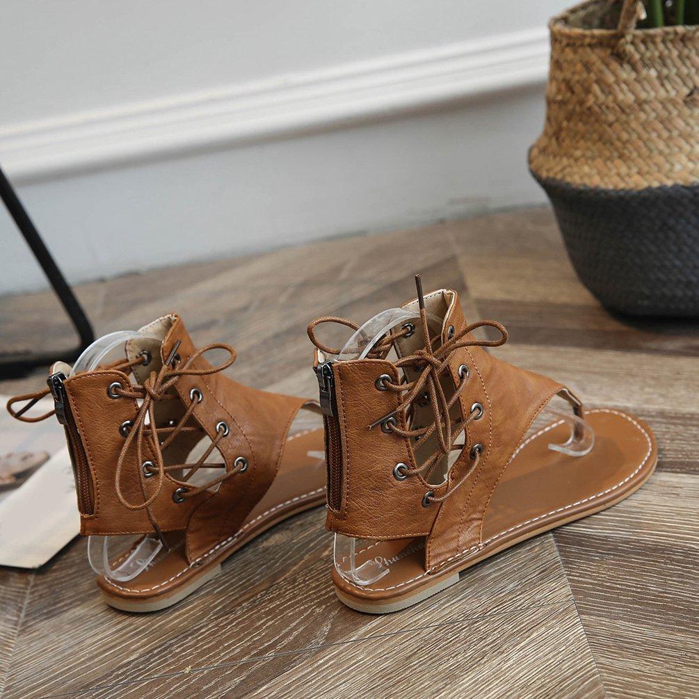 Dexinx Estate di Charme Donne Caviglia Elegante Alta Caviglia Donne Sandali delle Signore Merletto di Colore Solido Attraente up Scarpe da Spiaggia  Giallo 65fef4