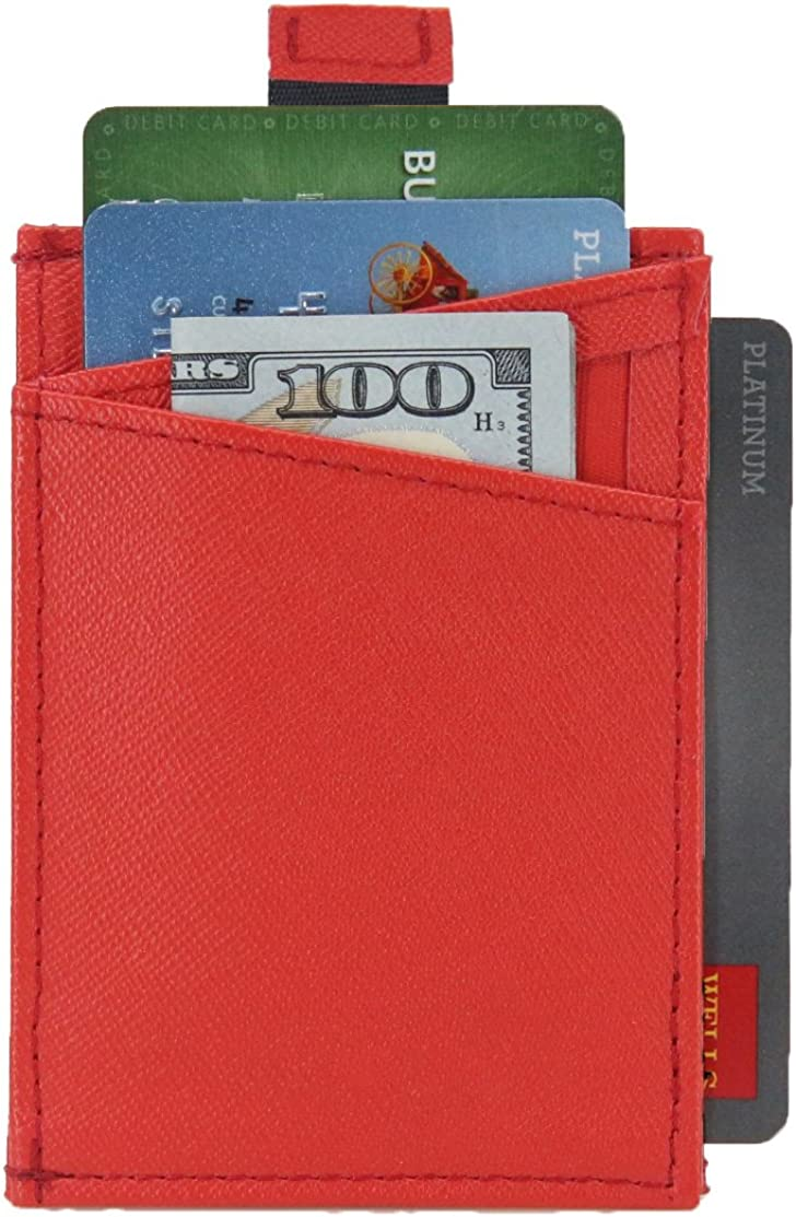 Slim Wallet 5.0 By DASH Co. - Minimal Wallet For Men & Women - RFID Blocking, Quickdraw & Pull Tab (Red)
