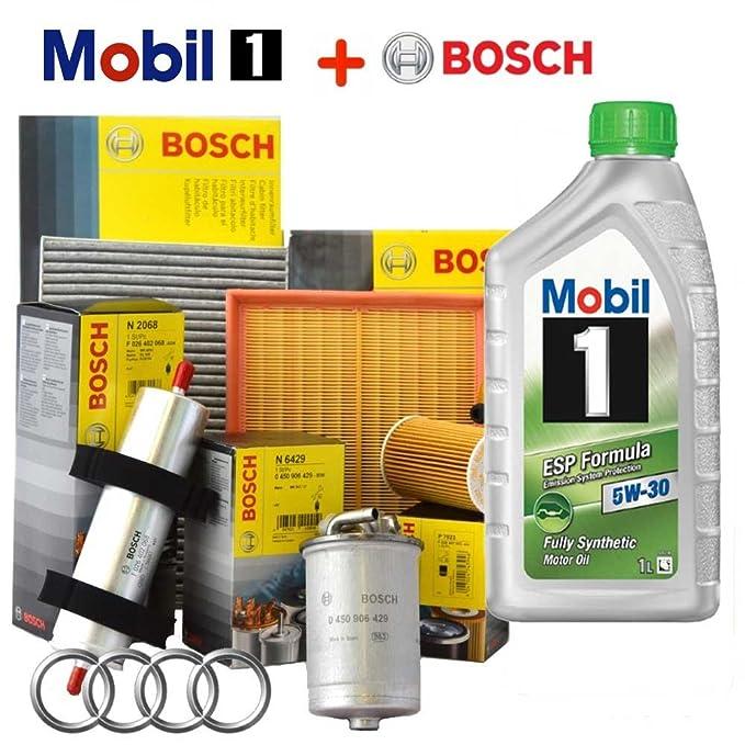 Kit de revisión: 4 filtros Bosch + 5 litros de aceite Mobil 1 ESP 5W30 (1457429192, 1457070007 o 1457070008, 1987429404, 1987432397): Amazon.es: Coche y ...