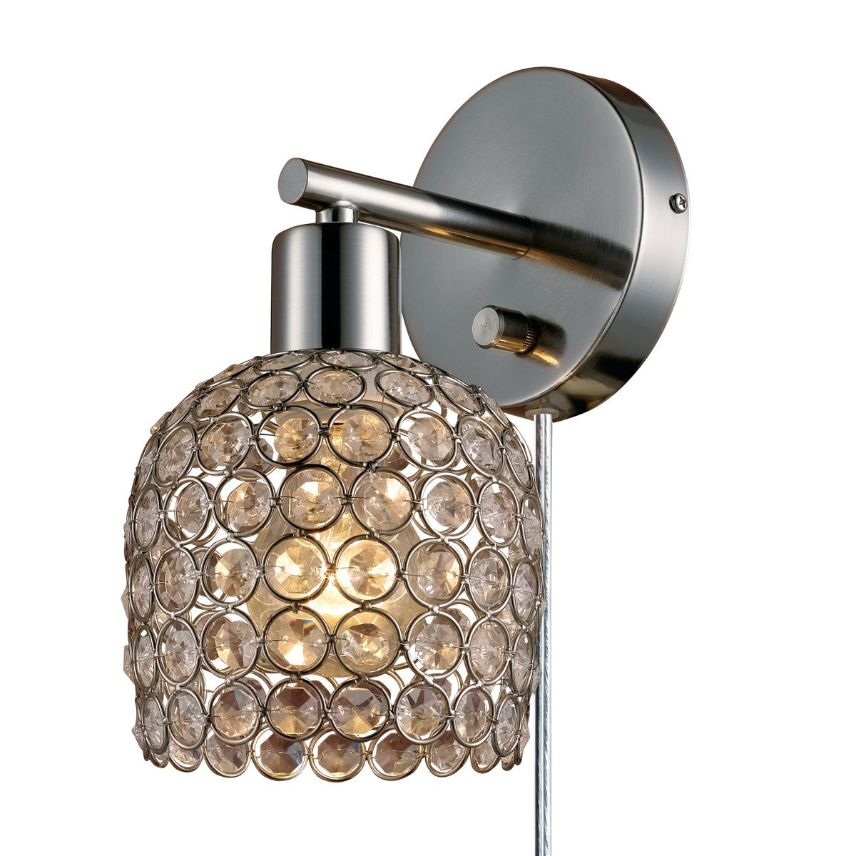 Globe electric vendome 1 light plug in or hardwire wall sconce globe electric vendome 1 light plug in or hardwire wall sconce brushed steel finish caged crystal shade 6ft clear cord rotary onoff switch 65310 arubaitofo Choice Image