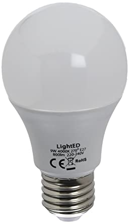 LightED Bombilla LED, 4000 K E27, 9 W, Blanco 60 x 108 mm