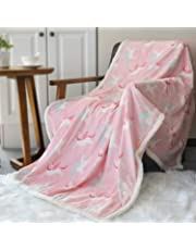 """Boritar Throw Blanket Super Soft and Warm Mink with Sherpa Backing, Lovely Green Fox Printed 50""""x60"""""""