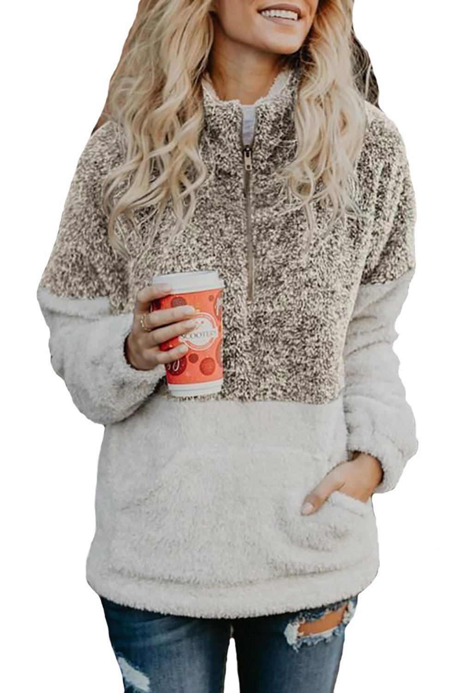 Minipeach Women's Long Sleeve 1/4 Zip Pullover Jacket Outwear Sweatshirt Winter Coat